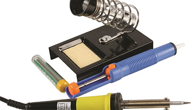 Shows what you get inside the Soldering Iron Starter Kit