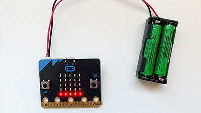 The BBC micro:bit displaying the amount of light it has been exposed to