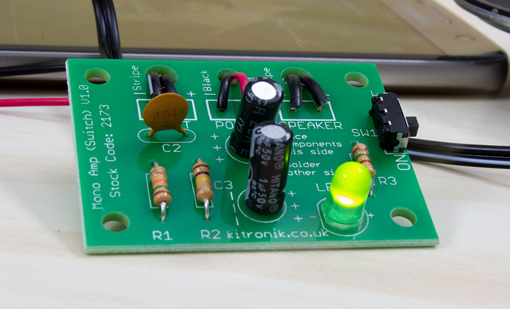 The Kitronik Mono Amp – New And Improved close up of board